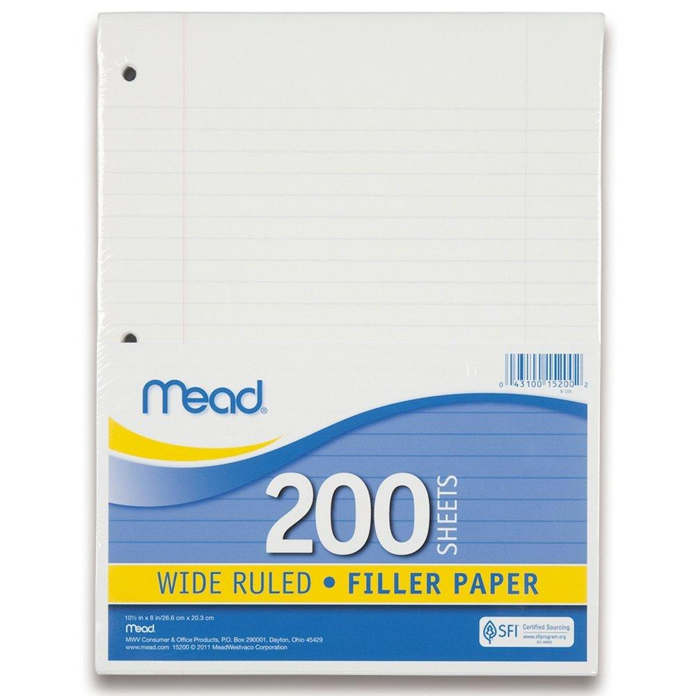 Amazon.com : Filler Paper By Mead, Wide Ruled, 200 Sheets