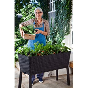Keter Elevated Garden Bed flower pots planter 31.7 gallon capacity watering system drainage plug