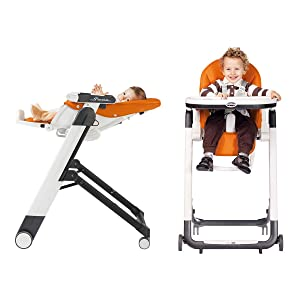 recliner, infant, toddler, high chair, multi-purpose, height adjustment, wheels, compact fold