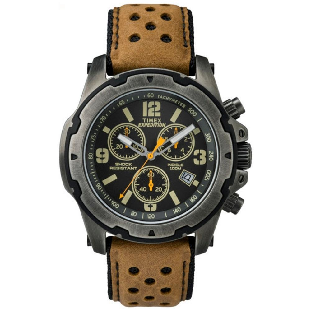 Timex men 39 s tw4b04300 expedition scout chrono brown natural leather strap watch timex amazon for Expedition watches