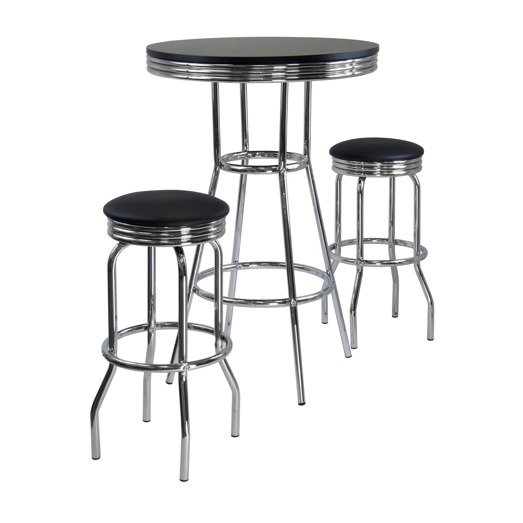 Winsome Wood Summit Pub Table And 2 Swivel Stool Set 3 Piece