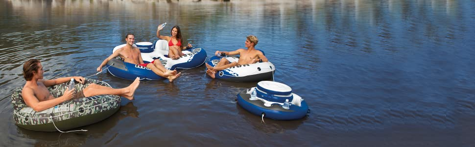 Intex River Run II 2 Person Double Inflatable Tube Float Cooler