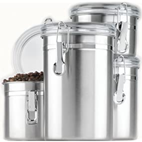 anchor hocking; stainless steel; canisters; storage; pantry; countertop; durable; clamp lid