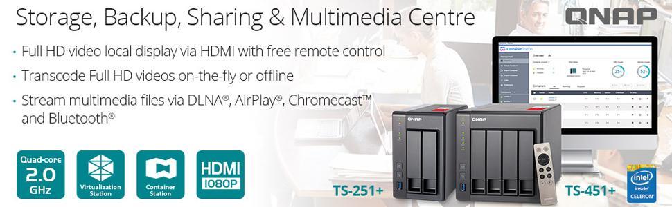 QNAP TS-251+ 2-Bay Next Gen Personal Cloud NAS, Intel 2 0GHz Quad-Core CPU  with Media Transcoding (TS-251_-2G)