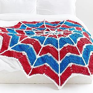 Bernat Blanket Brights Yarn;Versatile;Versatility;Multi Use;Bernat Spiderweb Crochet Blanket
