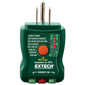GFCI test indicators, circuit breaker finder, GFCI receptacle tester, Extech, fault conditions