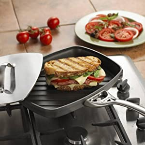 Panini Pan Black 1876986 13 3//4-inch Calphalon Contemporary Hard-Anodized Aluminum Nonstick Cookware