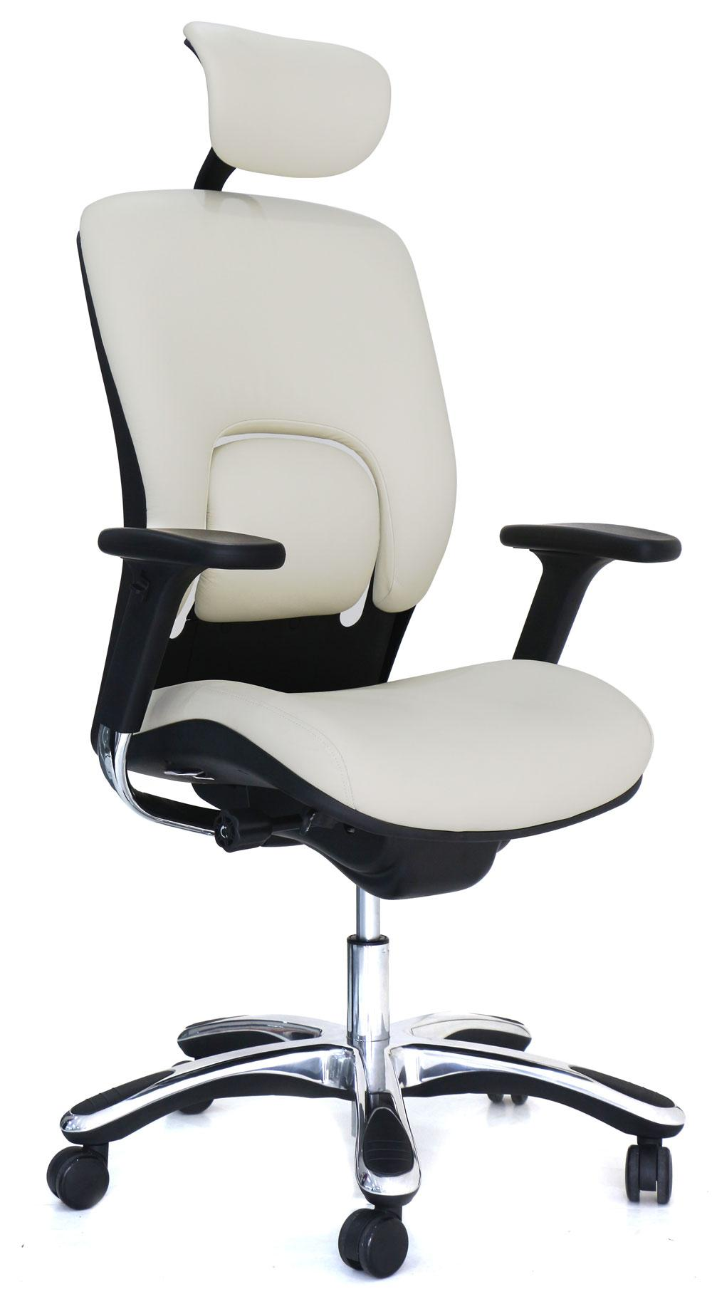 office chair genuine leather white. View Larger · White Ergolux Genuine Leather High-Back Executive Office Chair C