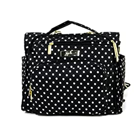 JuJuBe BFF Multi-Functional Convertible Diaper Backpack/Messenger Bag, Legacy Collection - The Duchess - Black with White Polka Dots