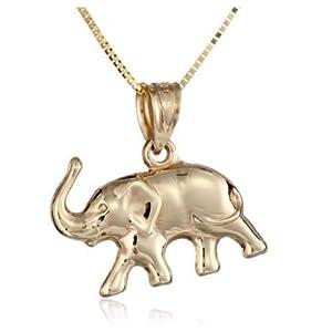 14k yellow gold elephant pendant necklace 18 amazon jewelry 14k yellow gold elephant pendant necklace aloadofball Choice Image