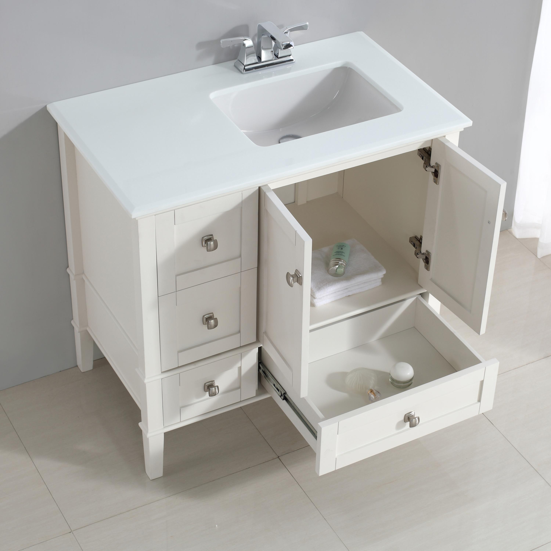 Simpli Home Chelsea 36 Right Offset Bath Vanity With White Quartz Marble Top Soft White Nl