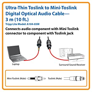TRIPP LITE A104-03M Ultra Thin TOSLINK to Mini TOSLINK Digital SPDIF Audio Cable 3M,Black
