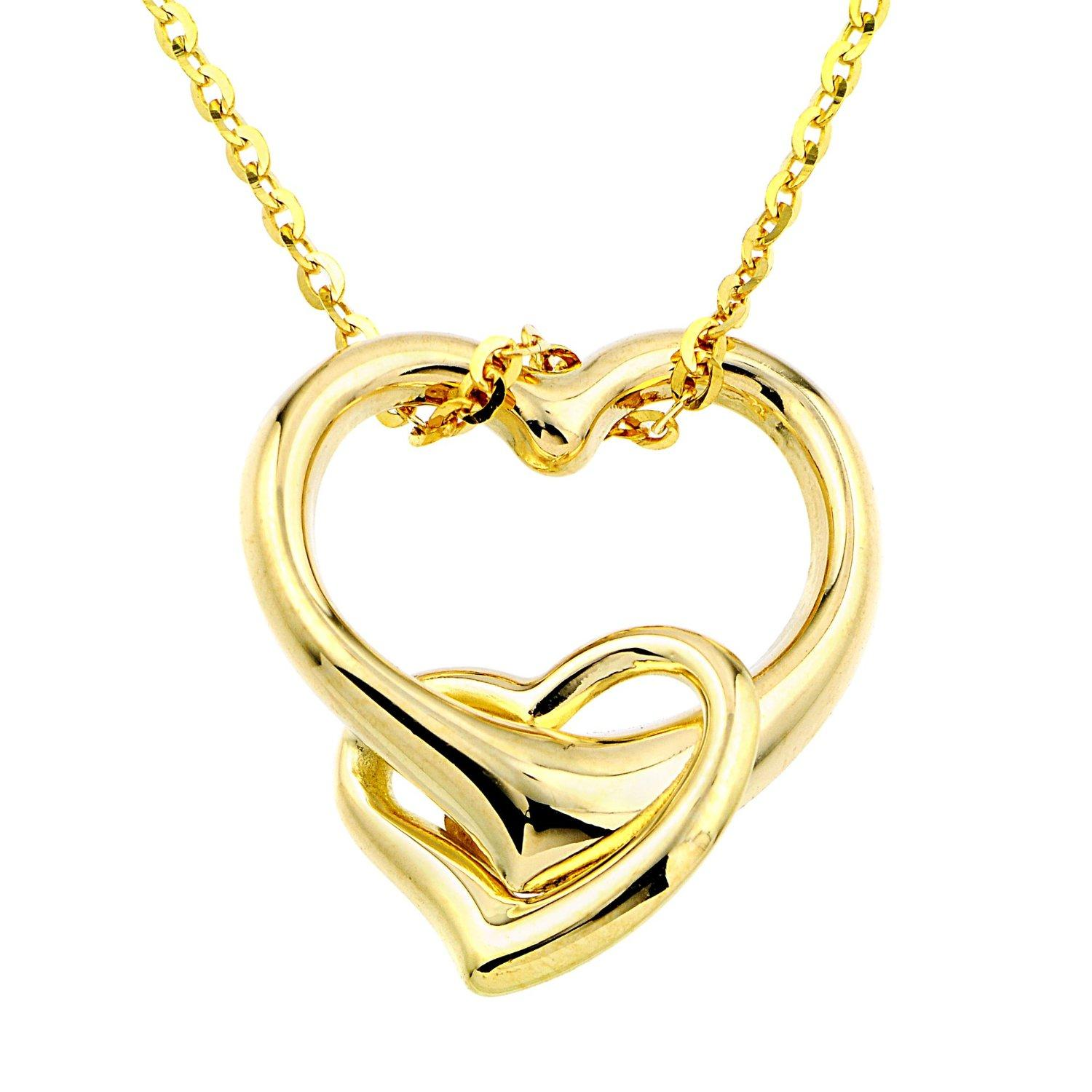 Amazon.com: 14k Yellow Gold Double Heart Pendant Necklace