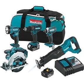 five piece combo kit; tool kit; tool set; makita tool kit;various tools;circular saw;reciprocating