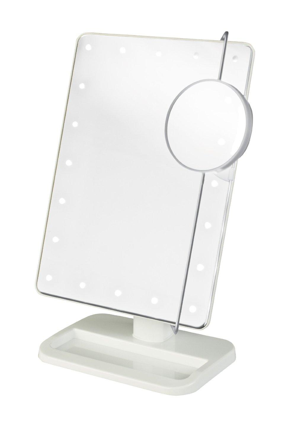 Makeup Mirrors Adjustable 20 Led Lighted Makeup Mirror Portable Magnifying Vanity Tabletop Lamp Cosmetic Mirrorwith 10x Magnify Round Mirror