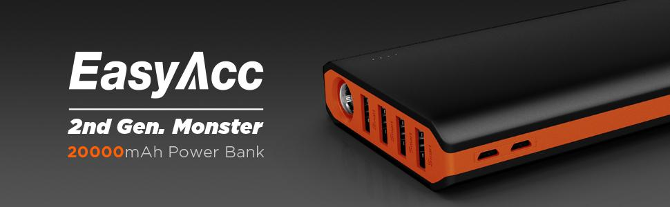EasyAcc Monster 20000mAh Power Bank(4A Input 4.8A Smart Output) External Battery Charger Portable