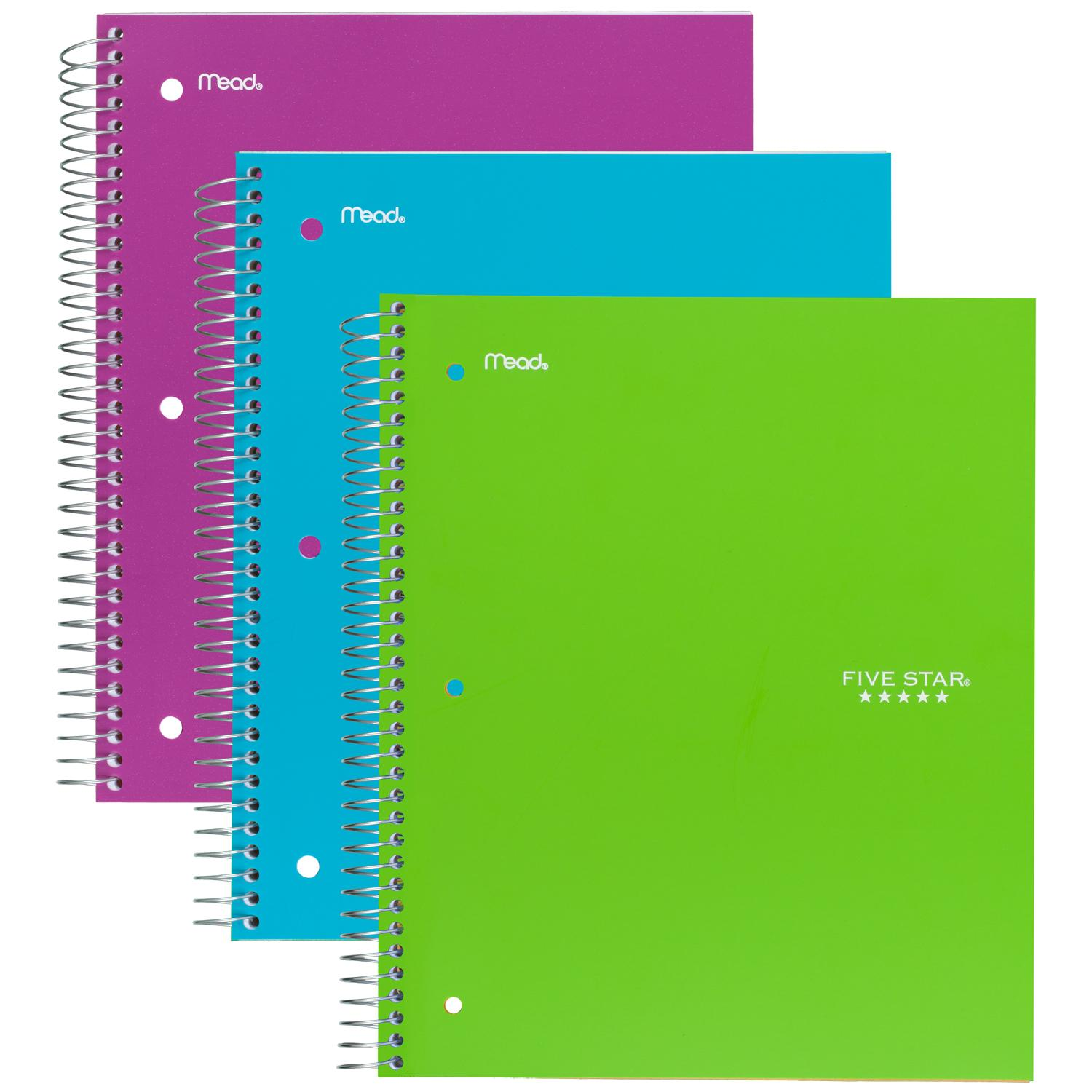 five star spiral notebook 1 subject 100 wide ruled sheets teal