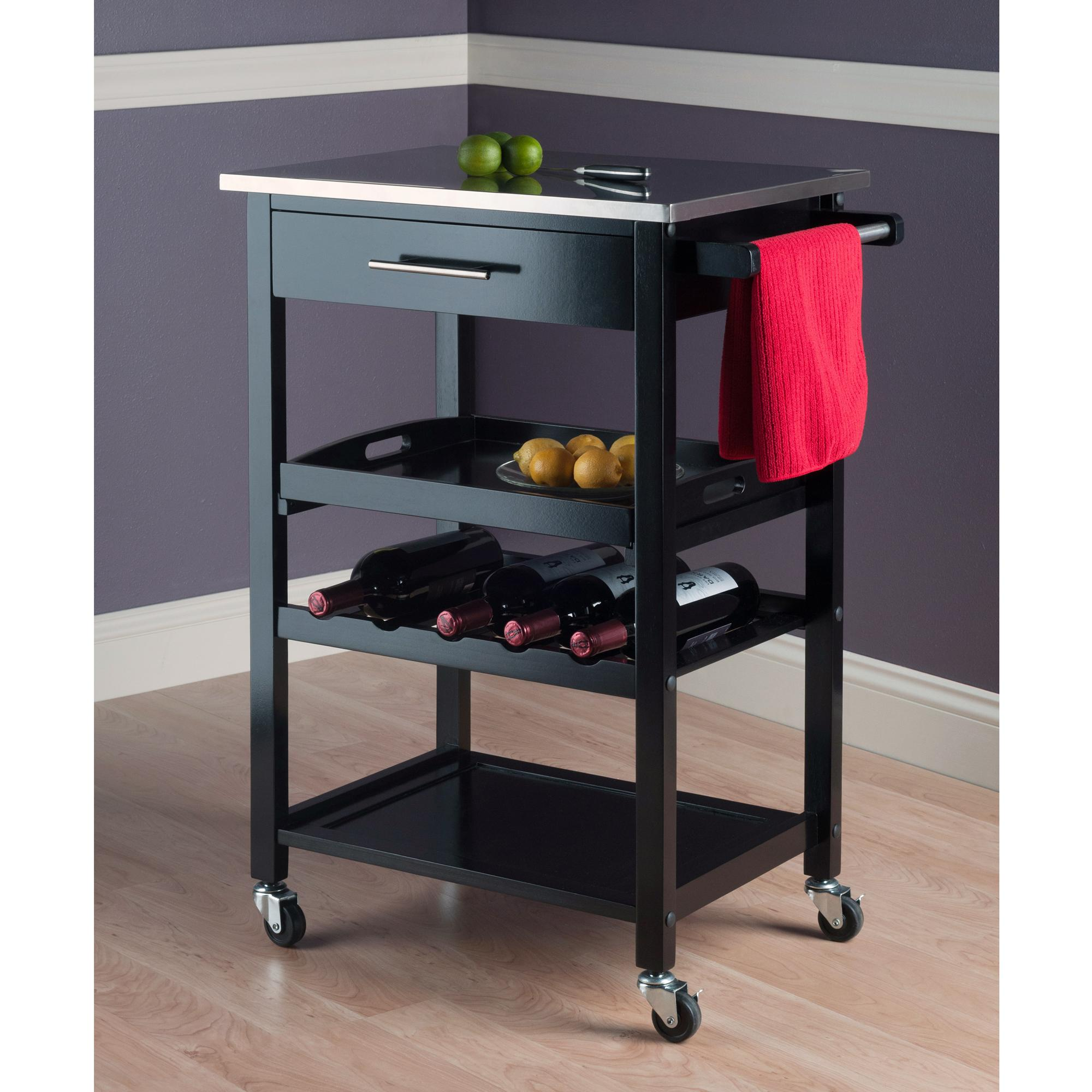 Winsome Wood Anthony Kitchen Cart Stainless Steel Amazonca Home