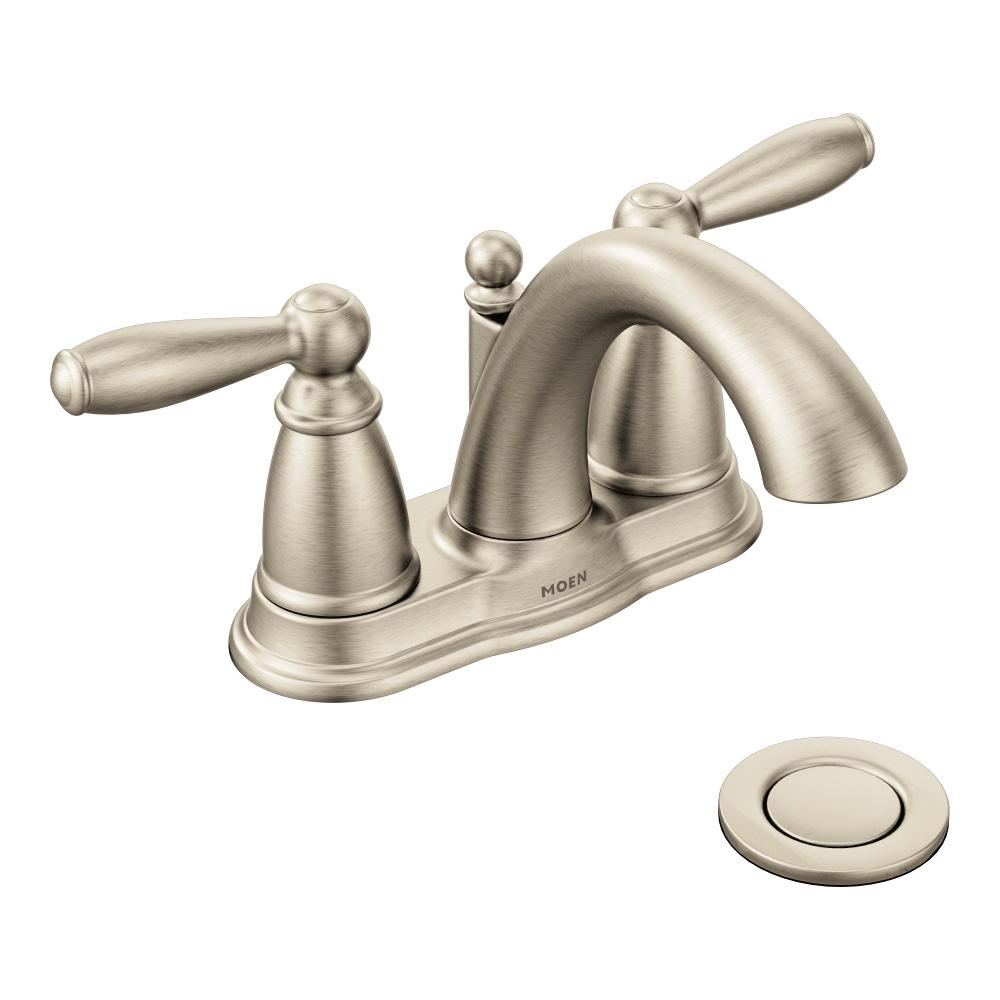 Moen 6610bn Brantford Two Handle Low Arc Bathroom Faucet With Drain