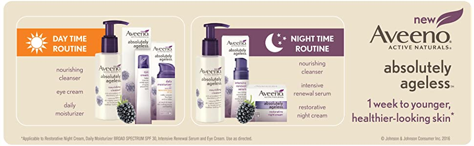 Aveeno day time routine, night time routine, AVEENO Absolutely Ageless Nourishing Cleanser