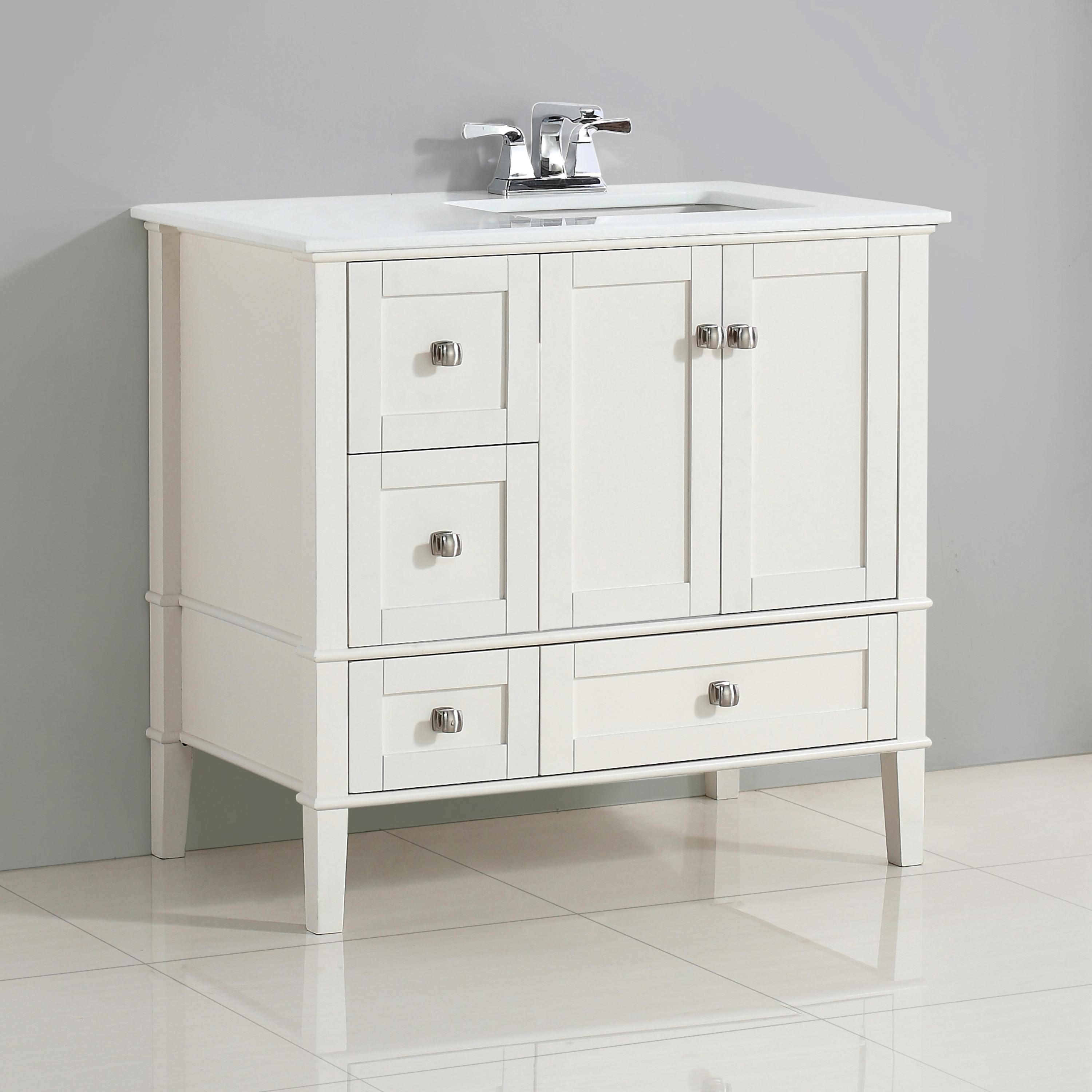 Simpli Home Chelsea 36 Right Offset Bath Vanity With Soft White
