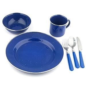 Stansport Enamel Camping Tableware Set 24 Piece Blue Amazonca