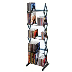 Mitsu Multi Tier Media Rack For CDs DVDs And Blu Ray