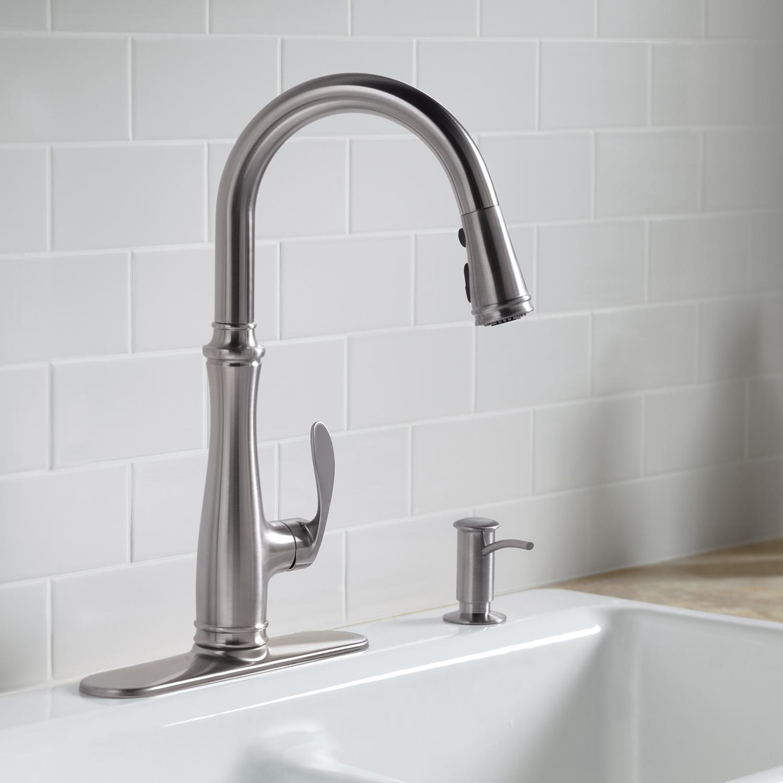Kohler K 560 Cp Bellera Pull Down Kitchen Faucet Polished Chrome Parts Diagram For Gourmet Single Handle 150 450 View Larger