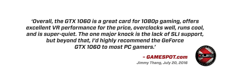 PNY GeForce GTX 1060 6GB XLR8 Gaming Overclocked Edition - Graphics Card  (VCGGTX10606XGPB-OC)