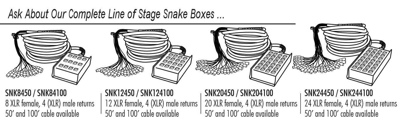 In Line Audio 16 Channel Audio Snake - (50 Feet) (Black) Xlr Snake Wiring Diagram on