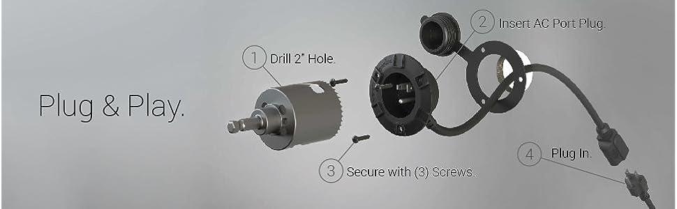power port installation, simple drill, mount