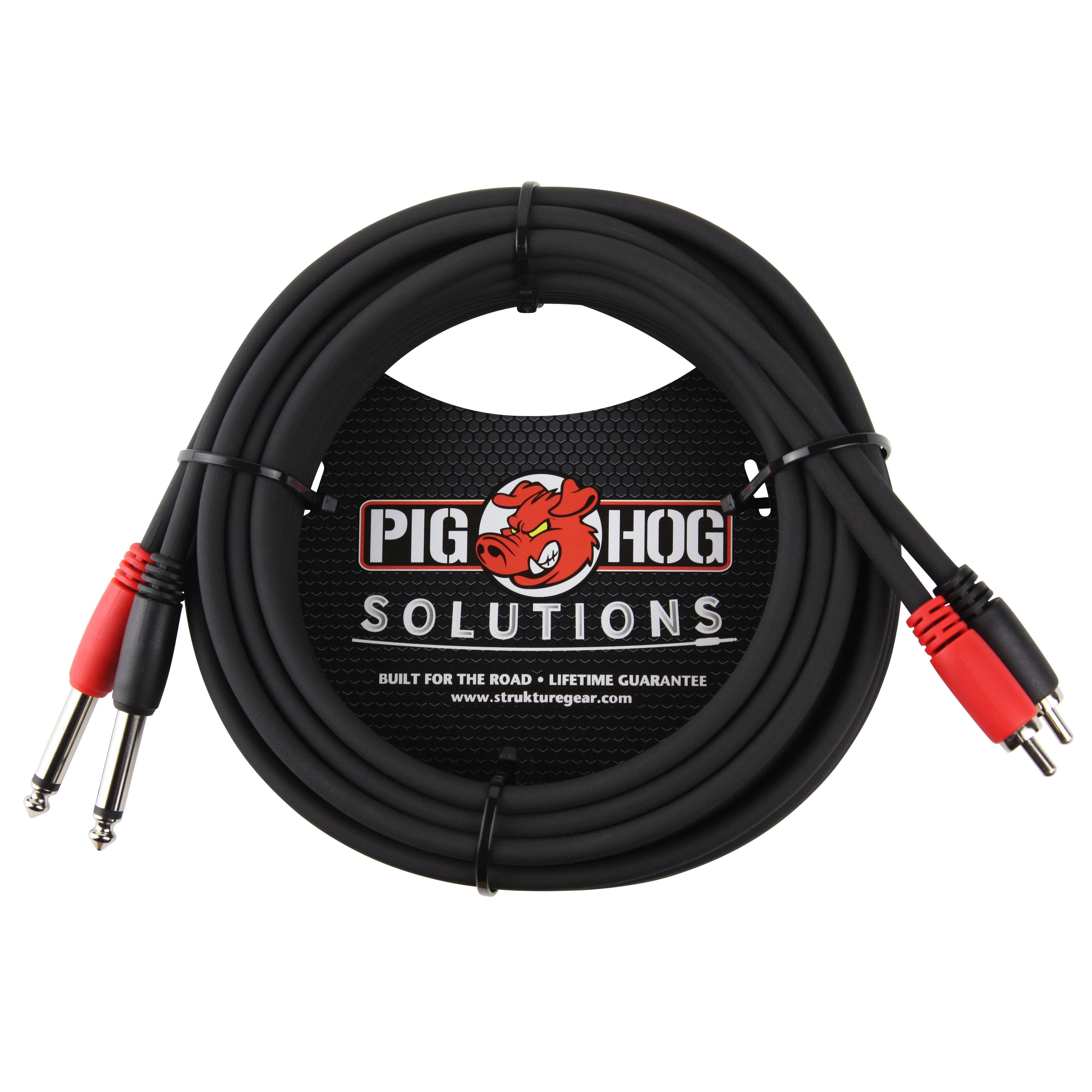 15 Feet Male Male Cable Pig Hog PD-R1415 Dual RCA to Dual 1//4 Mono