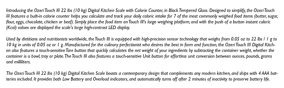 Amazon.com: Ozeri ZK19 Touch III 10 kg Digital Kitchen