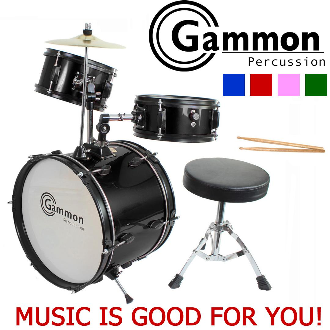 Gammon Percussion Jr1042 Black Drum Set Complete Junior