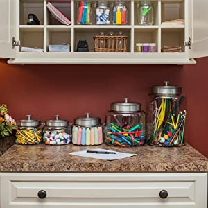 workspace; glass; organization; craft space; organize; markers; crayons