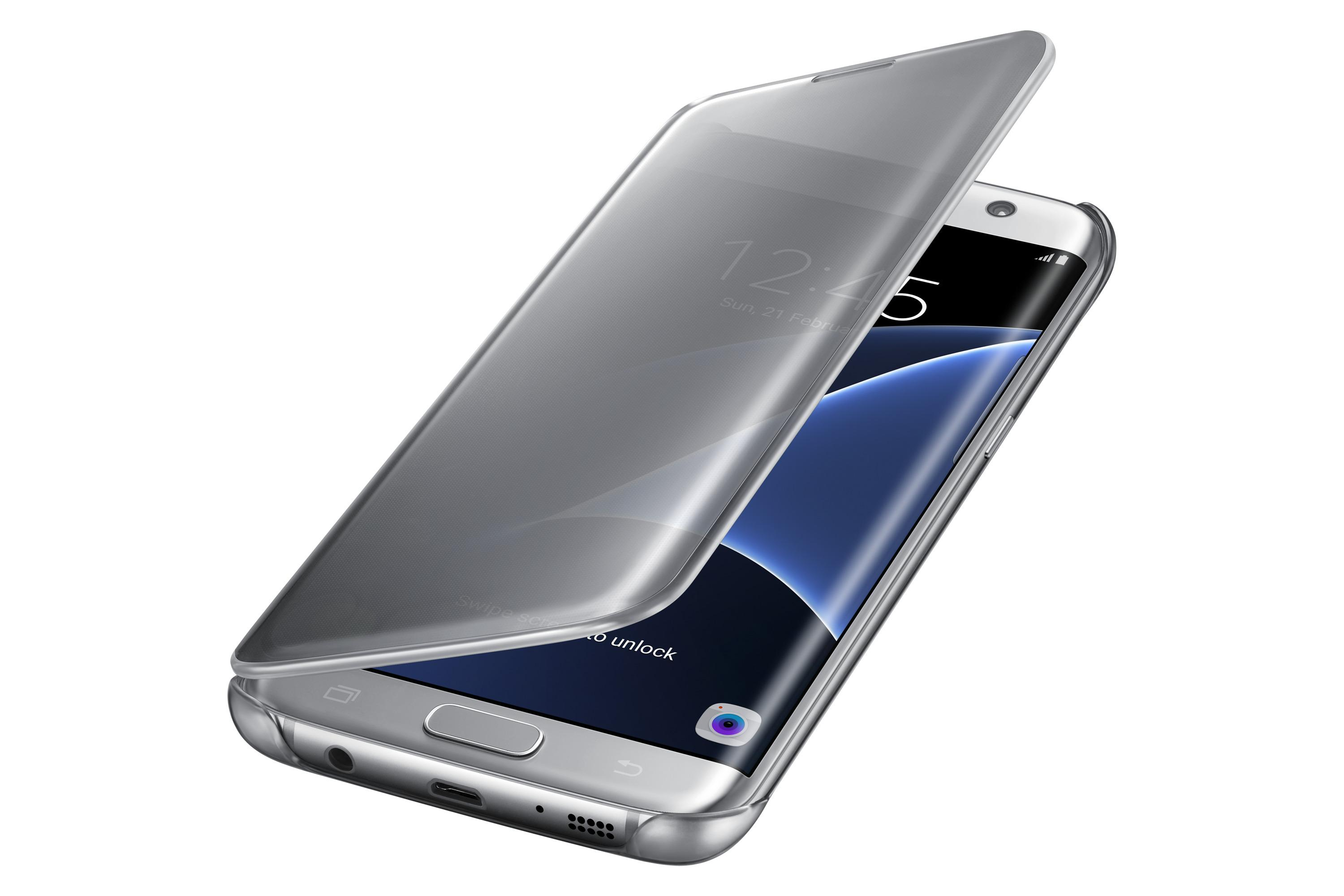 Samsung Galaxy S7 Edge Case S-View Clear Flip Cover - Silver  Amazon ... e9b9571a4010