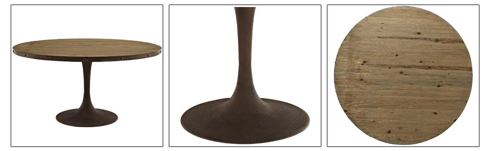 Modway Drive 60 Rustic Modern Farmhouse Pedestal Base Wood And Iron Round Kitchen And Dining Room Table In Brown