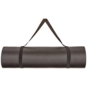 AmazonBasics 1/2-Inch Extra-Thick Yoga and Exercise Mat with Carrying Strap
