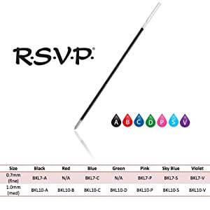 Pentel, R.S.V.P., refills, durable, stainless-steel tip, consistent line, long, 2 sizes, colors