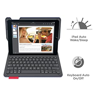 Logitech Type+ Protective Case with Integrated Keyboard for iPad Air 2, Dark Blue - Smooth Surface