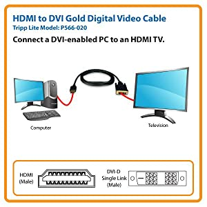 HDMI to DVI-D M//M Tripp Lite HDMI to DVI Cable P566-020 20-ft.20 Digital Monitor Adapter Cable