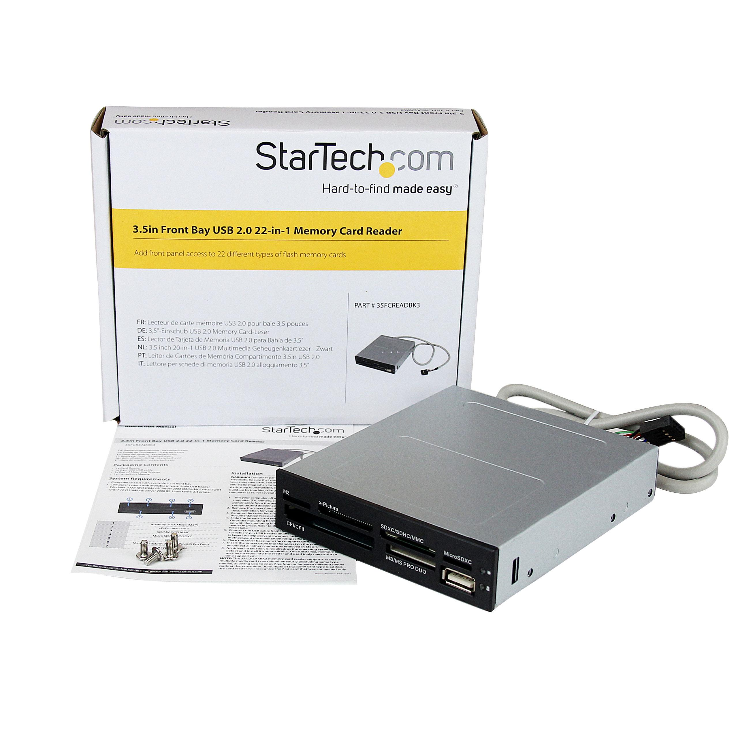 StarTech.com 3.5in Front Bay 22-in-1 USB 2.0 Internal Multi Media Memory Card Reader with Simultaneous Access - CF/SD/MMC/MS/xD - Black (35FCREADBK3)
