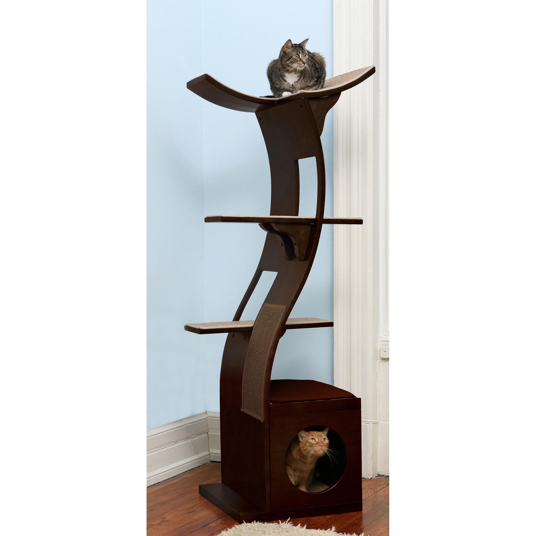 Amazon Com The Refined Feline Lotus Cat Tower In Espresso Cat