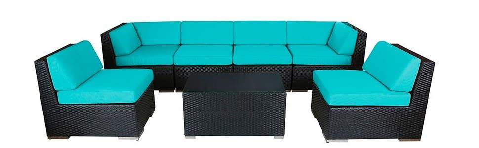 Ohana 7-Piece Outdoor Patio Furniture Sectional Conversation Set, Black Wicker with Sunbrella Aruba Cushions - No Assembly with Free Patio Cover