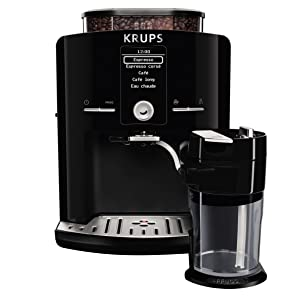 KRUPS EA8298 Cappuccino Bar, Fully Automatic 57-Ounce, Preset drinks, LCD Display, Integrated Milk Froth System , Black - 8000035801