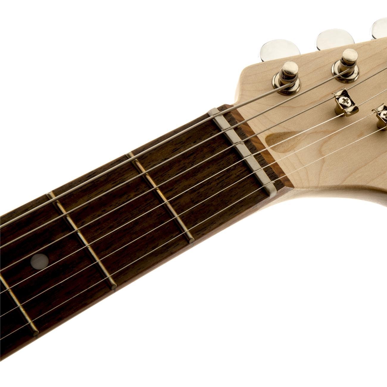 squier by fender mini strat beginner electric guitar rosewood fingerboard black. Black Bedroom Furniture Sets. Home Design Ideas