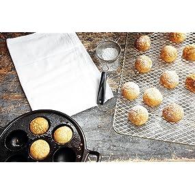 pancake pan, Aebleskiver Pan, Danish pancakes, cast iron bakeware