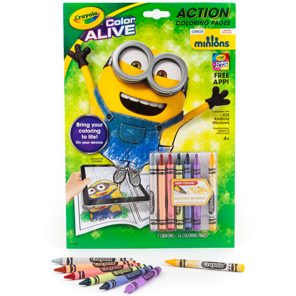 Crayola Color Alive Action Coloring Pages-Minions, Crayons ...
