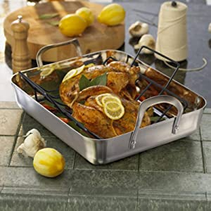 Calphalon Contemporary Stainless Steel 16-Inch Roaster with Nonstick V-Rack