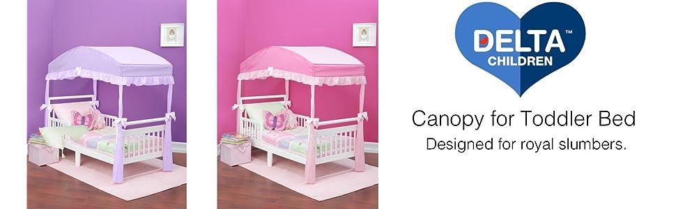 Toddler Beds Children Girls Canopy Toddler Bed Pink Polyester Aluminum Toddler